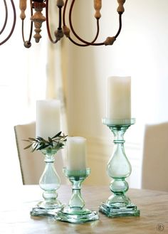 Chunky blue glass candle holders