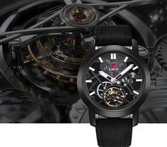 Lige Mens Skeleton Mechanical Tourbillion Military style watch. Perfect sleek gift for  the one who wants to see the mechanics of the watch itself.