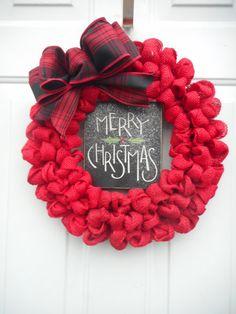 christmas burlap wreath red christmas burlap by chloescraftcloset - Red Christmas Wreath