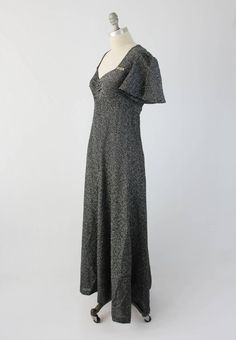 69649eedf0a3 Vintage 70s Metallic Evening Gown - Flutter Sleeve Formal Long Black and  Silver Dress - Stretch A Line Maxi by St. James - Size Medium M