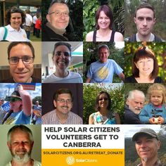 Liberal Democrats Senator David Leyonhjelm is counting votes with yet another plan to destroy solar and the Renewable Energy Target.  That's why this team of Solar Citizens is going to Canberra. They'll be sending our message loud and clear: Don't block the RET.  Can you help them get there by chipping in $50 or whatever you can afford?  https://solarcitizens.nationbuilder.com/retreat_donate