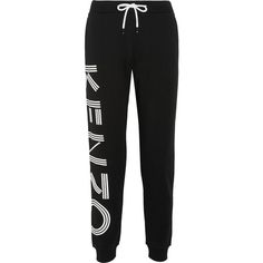 KENZO Printed cotton-terry track pants (£175) ❤ liked on Polyvore featuring activewear, activewear pants, calça, bottoms, pants, kenzo, cotton activewear, track pants and cotton track pants