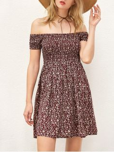 Smocked Tiny Floral Print Off The Shoulder Dress - WINE RED S Zalful