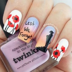 Remembrance Day Nails Poppies THE FIRST PINNER TO NAME MAN WHO WROTE IN FLANDERS FIELDS WILL GET A SHOUTOUT BUT YOU HAVE BE FOLL