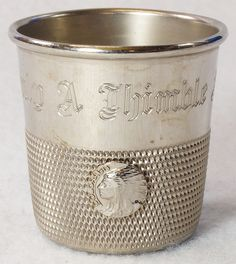 "Vintage ""Only a Thimble Full"" Shot Glass with Colorado Indian Head Emblem To see the Price and Detailed Description you can find this item in our Category Vintage Barware & Advertising on eBay: http://stores.ebay.com/tincanalley1/Vintage-Barware-Advertising-/_i.html?_fsub=19689496018  RD9469"
