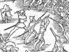 1548 depiction of a Zweihänder used against pikes in the Battle of Kappel