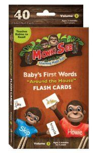 """Baby's First Words Flash Cards - Around the House by MonkiSee. $16.95. Teach your baby (ages 3 months - 3 years old) with these over-size, 5 x 8"""", full color flash cards. Each set includes 40 word cards with a full color picture on the opposite side to reinforce concepts being taught. Babies learn animals, items in the house, foods and beverages and possessions that are commonly found in the home environment."""