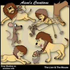 This pack contains 5 clipart images of the Lion & the Mouse from Aesops Fables. There are also 5 matching digi stamps.