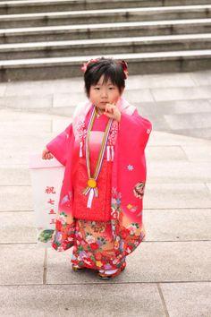 A little girl in a kimono at the Meiji Shrine