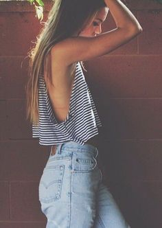 stipe crop tops + levi's #americanapparel