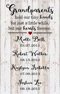 Mother's Day Custom Name Grandparent Grandchildren Hold Hands Hearts Forever Wood Sign, Canvas Art - Father's Day Gift, Christmas, Birthday