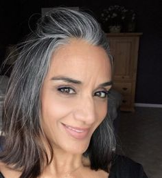 Long Gray Hair, Dark Hair, Grey Hair Transformation, Grey Hair Journey, Premature Grey Hair, Grey Hair Inspiration, Gray Hair Growing Out, Transition To Gray Hair, Hair Highlights