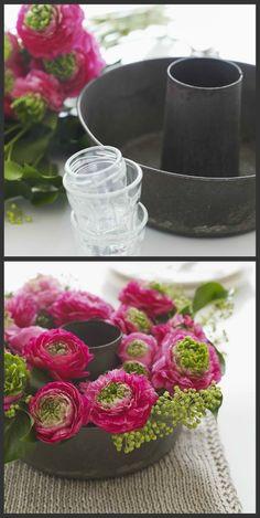 DIY flower display...very clever repurpose of bundt pan