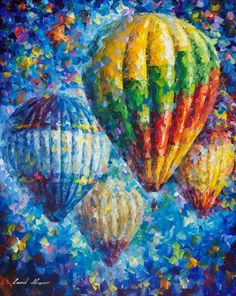 "I LOVE this artist. Perfect for kids' room of any sort. Hot air balloons. Blue red yellow green. Bedroom playroom dentist doctor office. Happy art. Magical. Uplifting ;). Up In The Blue Sky — PALETTE KNIFE Oil Painting On Canvas By Leonid Afremov - Size: 24"" 30"" (50"" x 75cm) by AfremovArtStudio on Etsy #OilPaintingForKids"
