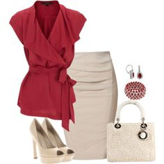 Work outfit - inspiration Nude skirt and red blouse