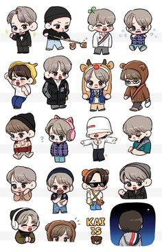 Exo Stickers, Cute Stickers, Exo Anime, Fanart Bts, Exo Fan Art, Kawaii Doodles, We Bare Bears, Exo Kai, Exo Members