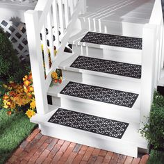 Set Of 4 Open Weave Pattern Black Rubber Outdoor Non Slip Stair Treads Step  Mats