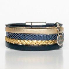 26d4003c3e45 Bracelet enfant fille en cuir by Gwlad s Manchette en cuir multi liens doré  bleu marine