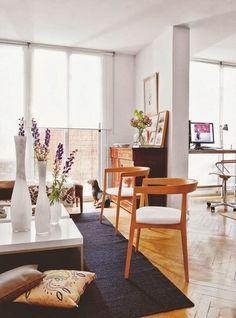 Sala com cantinho de trabalho (via Bloglovin.com )