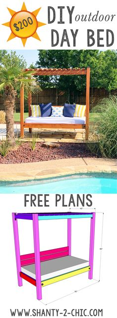 DIY Outdoor Day Bed - Outdoor Day Bed's can be very expensive! We have designed this DIY Outdoor Daybed that you can bu - Daybed Outdoor, Diy Daybed, Diy Outdoor Furniture, Wooden Furniture, Luxury Furniture, Furniture Design, Patio Daybed, Balcony Furniture, Sofa Furniture