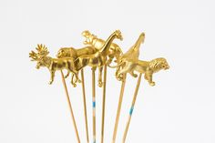 Gold Animals Cake Toppers or Drink Stirrers