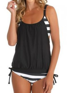 Stripe Print Black Spaghetti Strap Tankini on sale only US$22.37 now, buy cheap Stripe Print Black Spaghetti Strap Tankini at modlily.com
