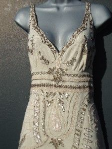 Vintage 20s long nude bead flapper dress size 14 us 10 gatsby deco wedding sheer | eBay
