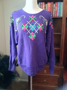 Floral Bead and Sequin Embellished Purple Crew Neck by PDeeVintage