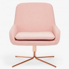 Softline Coco Pink Swivel Chair Drawing inspiration from mid-century modern styles, architects Busk + Hertzog designed this organically shaped, molded seat set on a geometric, swivel base. Clad in a removable new wool slipcover, softly rounded armrests and back are designed to draw in the body, while a sleek chrome base imparts sophistication.