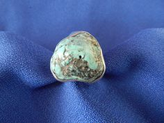 Vintage Sterling Silver Ring with Large Turquoise Stone by AlwaysPlanBVintage on Etsy