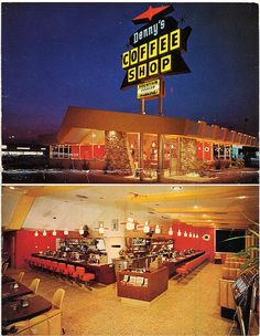 But you don't need to lure weary patrons with cheap tricks like pretending to be a Waffle House, Denny's. Classic Restaurant, Vintage Restaurant, Vintage Postcards, Vintage Photos, Vintage Diner, Vintage Ads, Coffee Shop Menu, Old Signs, Googie
