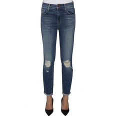 J Brand 'Mid Rise Capri' Jeans (6 440 UAH) ❤ liked on Polyvore featuring jeans, blue, ripped jeans, white ripped jeans, mid rise skinny jeans, cropped skinny jeans and white capris