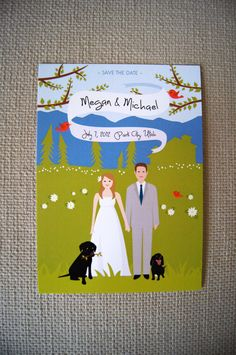 summer mountain wedding save the date  A7 by loobirdpress on Etsy, $5.00