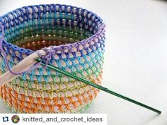 """hatandsandalsguy: """"podkins: """" COIL + CROCHET RAINBOW BASKET DIY Oooo I love this. I've been making some of these for myself, but this is a very helpful tutorial that I hadn't seen before. Crochet Storage Basket Pattern Lots Of Ideas An old t-shirt Crochet Diy, Crochet Home, Crochet Crafts, Yarn Crafts, Sewing Crafts, Crochet Ideas, Rope Crafts, Crochet Tutorials, Yarn Projects"""