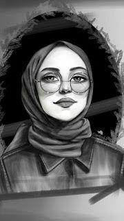 بنات كيوت رسم محجبات Lukisan Wajah Gambar Kartun Hijab