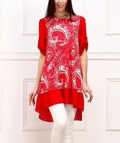 Another great find on #zulily! Red & White Paisley Roll-Tab Tunic #zulilyfinds
