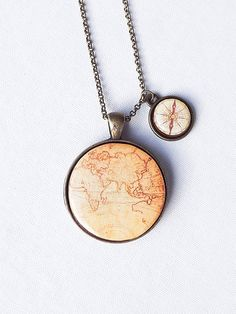 World Map With Compass Necklace World Necklace by bloomyjewelry