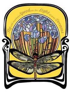 dragonfly art print, original art nouveau home decor