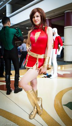 Cosplayer: Joanie Mars. Character: Mary Marvel from Captain Marvel DC Comics. Event: MegaCon 2011. Photographer: Michael Iacca.