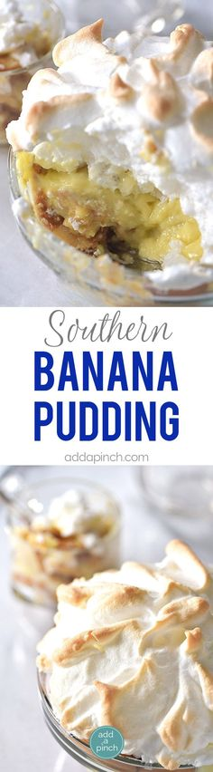 Southern Banana Pudding Recipe - This banana pudding recipe makes a classic, Southern dessert. An heirloom family recipe, this homemade banana pudding is an essential part of so many holidays and cele (Favorite Cake Banana Pudding) Southern Banana Pudding, Homemade Banana Pudding, Banana Pudding Recipes, Pioneer Woman Banana Pudding, Baked Banana Pudding, Banana Bread, Southern Desserts, Köstliche Desserts, Southern Recipes