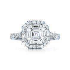 Kwiat: Asscher Cut Diamond Ring with a Diamond Frame