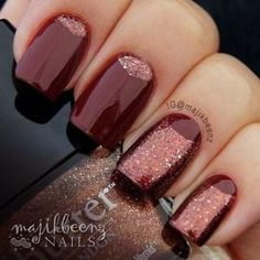 Put an unexpected spin on the half-moon mani with a few inverted digits. #fall #nails