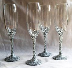 4 x Hand Painted Champagne Glasses 'Ice' design