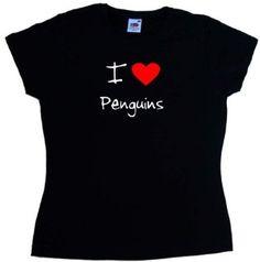 I Love Heart Penguins Black Ladies Fitted T-Shirt: Amazon.co.uk: Clothing