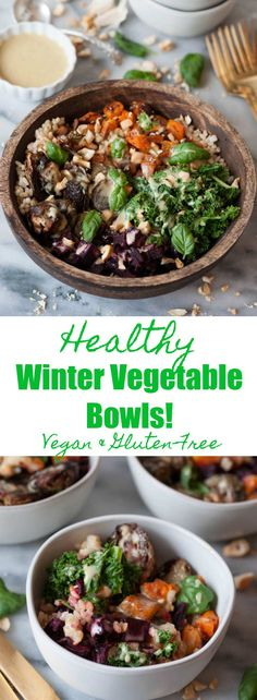 Healthy Winter Vegetable Bowls! Roasted beets, butternut squash, Brussels sprouts, and kale with a maple mustard dressing. The perfect winter meal.