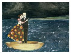 Nigel and Lily embracing at sea