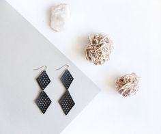 Double Black Diamond Leather Mesh Earrings + + + made from second hand leather by Scandinazn
