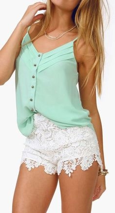 Lace shorts + mint green shirt