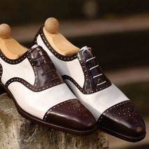 Handmade Brown Cap Toe Brogue Shoes Brown Leather Formal Oxford Leather Shoes - Dress/Formal