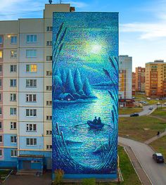 """Sun and Moon"" (diptych) Part ""Moon"" Damir Bozik 2018 Public art project Almetyevsk, Russia. ✨ ""Солнце и Луна Grafitti Street, Street Wall Art, Banksy, Urbane Kunst, Bright Art, Graffiti Painting, Cafe Art, Mural Art, Outdoor Art"